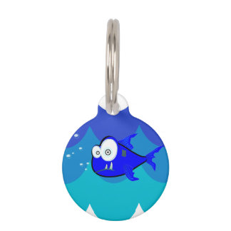 Comical Shark Swimming in the Waves Pet Name Tags