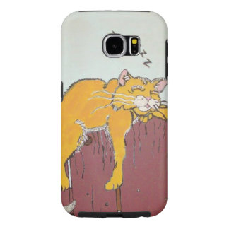 Comical Sleeping Cat Samsung Cases