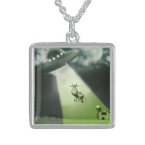 Comical UFO Cow Abduction Necklace