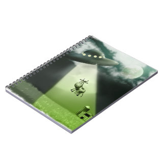 Comical UFO Cow Abduction Notebook