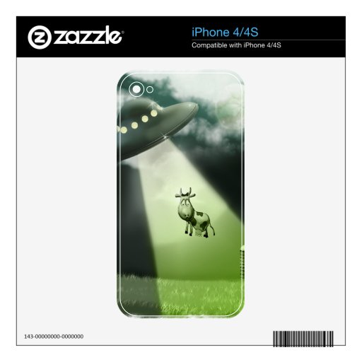 Comical UFO Cow Abduction  Zazzle Skin iPhone 4 Skins