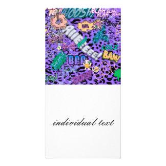 cómico enrrollado por todas partes, púrpura tarjeta fotográfica