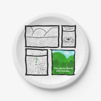 Cómico verde plato de papel de 7 pulgadas