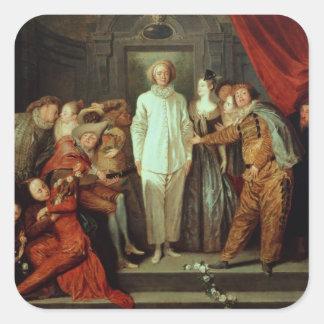 Cómicos italianos, c.1720 pegatina cuadrada