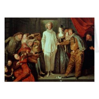 Cómicos italianos, c.1720 tarjeta de felicitación