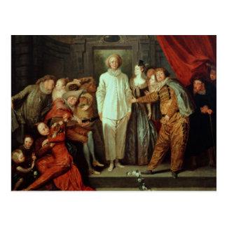 Cómicos italianos, c.1720 tarjeta postal