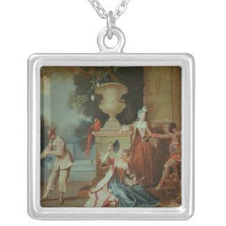 Cómicos italianos en un parque, c.1725 collar plateado