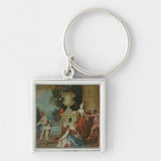 Cómicos italianos en un parque, c.1725 llavero cuadrado plateado
