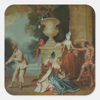 Cómicos italianos en un parque, c.1725 pegatina cuadrada
