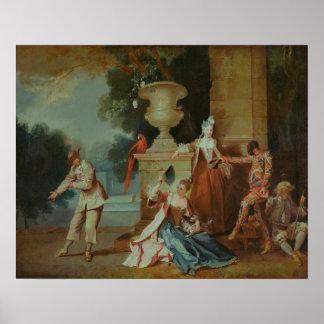 Cómicos italianos en un parque, c.1725 póster