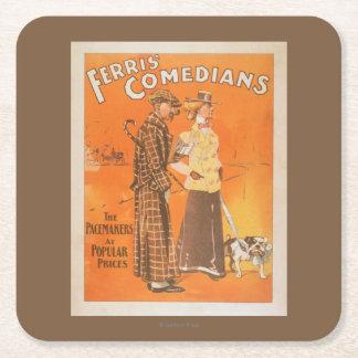 """Cómicos """"marcapasos de Ferris en los precios Posavasos De Cartón Cuadrado"""