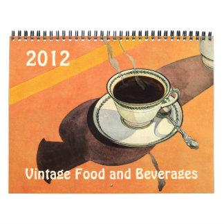 Comida 2012 del vintage y calendario de las bebida