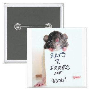 Comida 2 de los amigos de las ratas R no Pin Cuadrada 5 Cm
