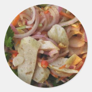 Comida asiática picante tailandesa de la calle de pegatina redonda