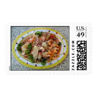 Comida asiática picante tailandesa de la calle de sello postal
