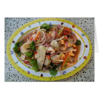 Comida asiática picante tailandesa de la calle de tarjeta de felicitación