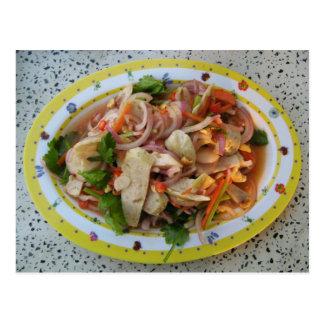 Comida asiática picante tailandesa de la calle de postales