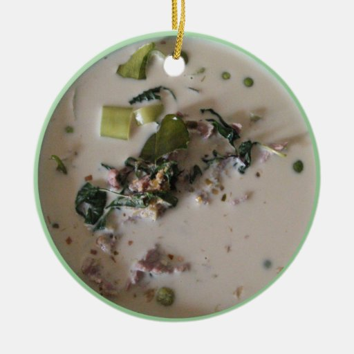Comida asiática verde tailandesa del curry adorno navideño redondo de cerámica