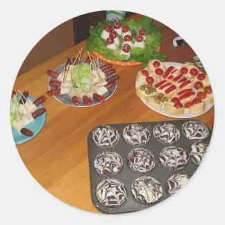 Comida asustadiza deliciosa de Halloween Etiquetas Redondas