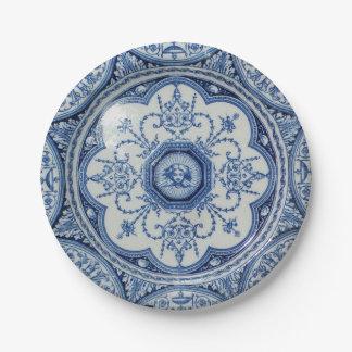 Comida campestre 1896 Minton Libro Blanco azul y 7 Platos De Papel