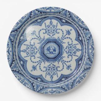 Comida campestre 1896 Minton Libro Blanco azul y Plato De Papel De 9 Pulgadas