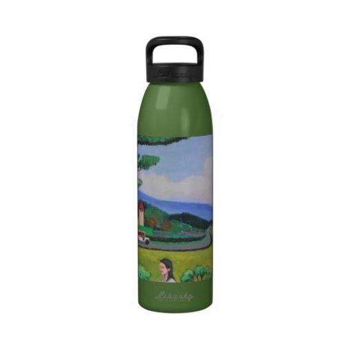 Comida campestre con la botella del granjero botella de agua reutilizable
