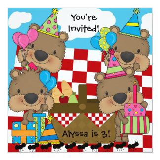 Comida campestre con la invitación del cumpleaños