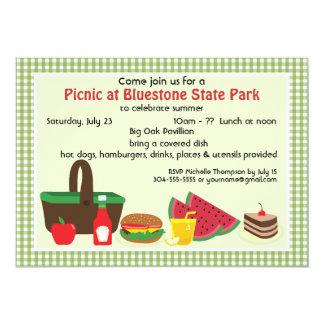 Comida campestre de encargo en el parque invitación 12,7 x 17,8 cm