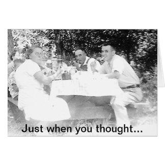 Comida campestre de la familia del vintage tarjeta de felicitación