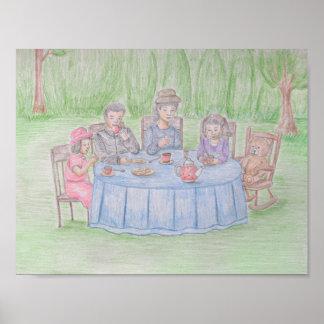 comida campestre de la familia póster