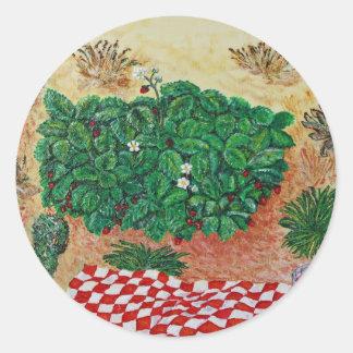 Comida campestre de la fresa con poca duda pegatina redonda