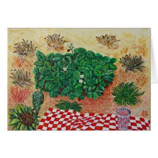 Comida campestre de la fresa con poca duda tarjeta de felicitación