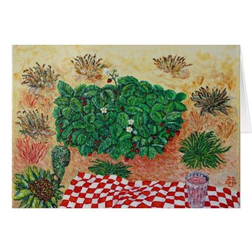 Comida campestre de la fresa con poca duda tarjeta pequeña
