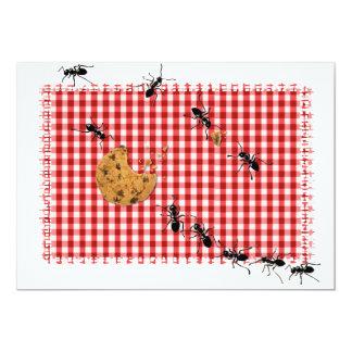 Comida campestre de la hormiga invitación 12,7 x 17,8 cm