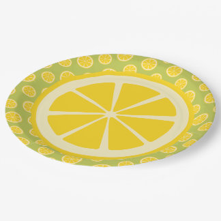 Comida campestre de la rebanada del limón plato de papel de 9 pulgadas