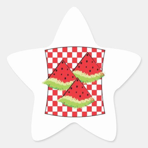 Comida campestre de la sandía calcomanías forma de estrellaes