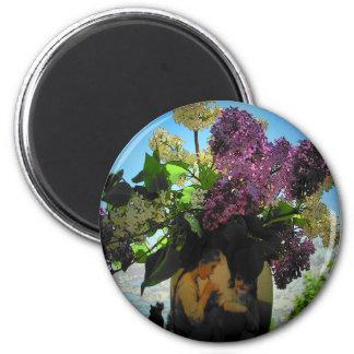 Comida campestre de las lilas y de las hermanas imán redondo 5 cm