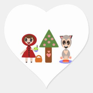 Comida campestre de los Caperucita Rojo Pegatina En Forma De Corazón