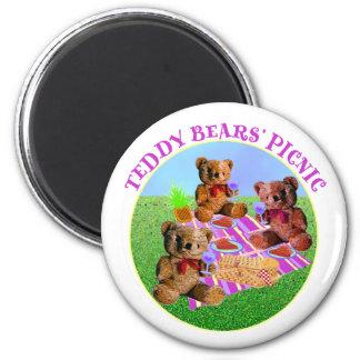 Comida campestre de los osos de peluche imán redondo 5 cm