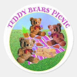 Comida campestre de los osos de peluche pegatinas redondas