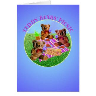 Comida campestre de los osos de peluche tarjeta de felicitación