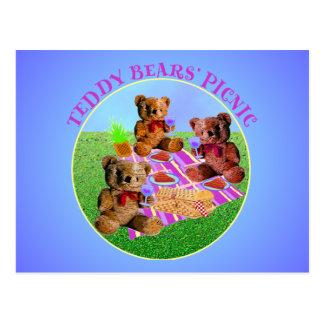 Comida campestre de los osos de peluche tarjeta postal