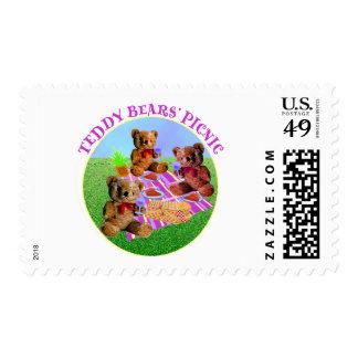 Comida campestre de los osos de peluche timbre postal