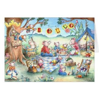 Comida campestre de los ratones que acampa - tarje tarjeta de felicitación