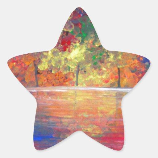 Comida campestre del arco iris pegatina forma de estrella personalizada