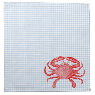 Comida campestre del cangrejo de los mariscos del  servilletas imprimidas
