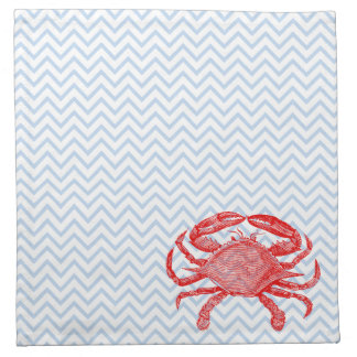 Comida campestre del cangrejo de los mariscos del  servilleta imprimida