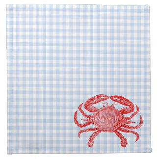 Comida campestre del cangrejo de los mariscos del  servilletas de papel