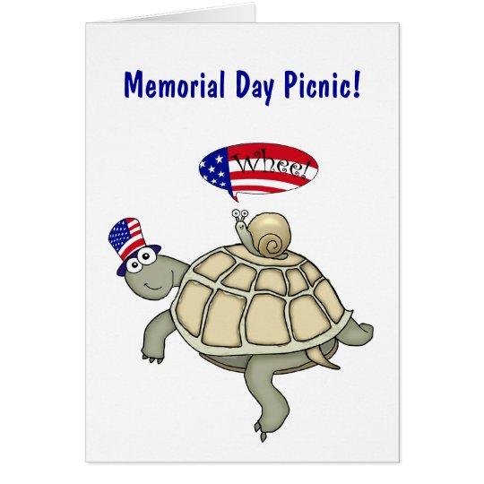Comida campestre del Memorial Day de la tortuga y Tarjeta De Felicitación