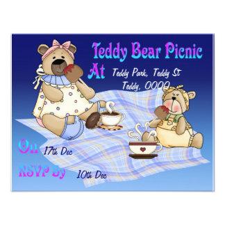 Comida campestre del oso de peluche invitaciones personalizada